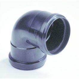 PP Bocht 80mm 2x mof 90° zwart