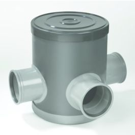 PVC Controleput 315mm 125x125x125mm 3x mof grijs H=400mm