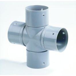 PVC Kruisstuk 60mm 4x klikmof grijs