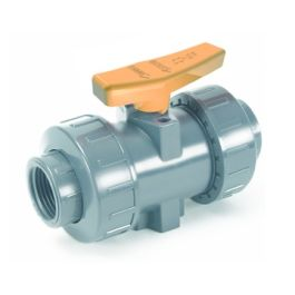 PVC Industrie kogelkraan 16mm PN16 2x kraagbus grijs