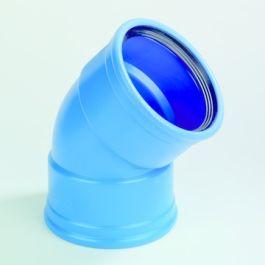 DykaSono PVC Bocht 50mm 2x mof 45° blauw
