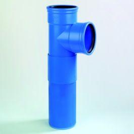 DykaSono PVC Verl Closet T-Stuk 110mm 2x mof/ spie 87° blauw L=406mm