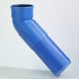 DykaSono PVC Verlengde bocht 110mm mof/ spie 45° blauw L=314mm