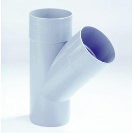 PVC T-stuk 70mm 2x mof/ spie 45° grijs