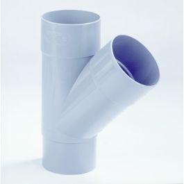 PVC T-stuk 70mm 2x mof/ verjongd spie 45° grijs