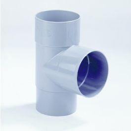 PVC T-stuk 70mm 2x mof/ verjongd spie 87,5° grijs