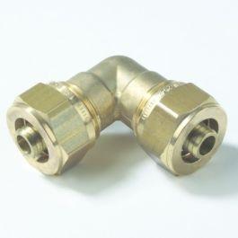 VSH Messing Knie koppeling 16mm 2x Multi super knel 90°
