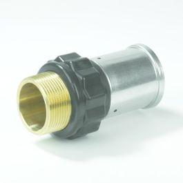 """Henco PVDF Overgangskoppeling 16mm x 1/2"""" pers/buitendraad zwart"""