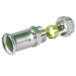 Henco Messing Overgangskoppeling 16mm x Cu 15 pers/koper knel