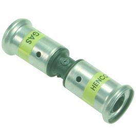 HENCO PVDF Rechte koppeling 16mm 2x pers GAS zwart