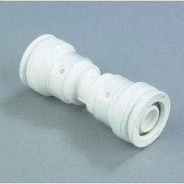 HENCO PVDF Rechte koppeling 16mm 2x push-fit wit