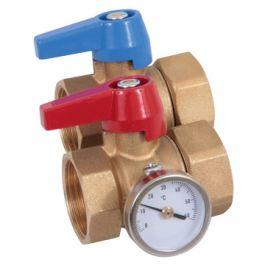 """HencoFloor Messing Kogelkraan met thermometer (set) 1"""""""