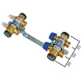 """HencoFloor Messing Verdeler regelbaar+DM 2 groepen 1"""" x 3/4"""" L=120mm"""