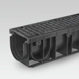 PE/PP Draingoot NC inclusief gietijzeren rooster 151mm L=1m
