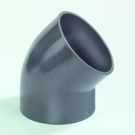 PE Bocht 50mm 45° zwart