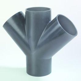 PE Dubbel T-stuk 110mm 45° zwart