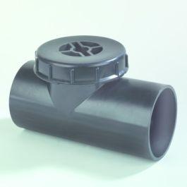 PE Ontstoppingsstuk met schroefdeksel 110mm 90° zwart