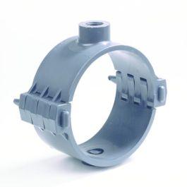 """PVC Aanboorzadel KIWA PN10 75mm x 3/4"""" binnendraad donkergrijs"""