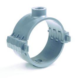 """PVC Aanboorzadel KIWA PN10 75mm x 1"""" binnendraad donkergrijs"""