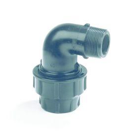 "Plassim PP Overgangsknie PN16 20mm x 1/2"" knel/ buitendraad 90° zwart"