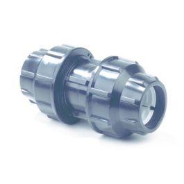 Plassim PP Rechte koppeling 16mm PN16 2x knel zwart