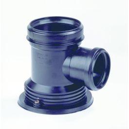 PP Instort T-stuk 110x50mm 2x mof/ 1x vastpuntflens 90° bl H=170mm