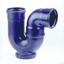 PP P-sifon met schroefdeksel 110mm 2x mof zwart