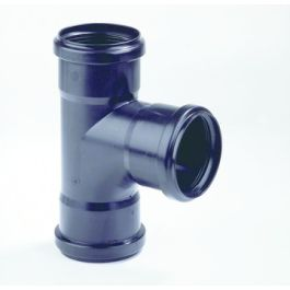 PP T-stuk 32mm 3x mof 90° zwart