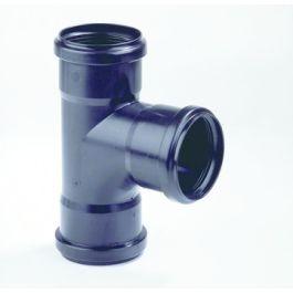 PP T-stuk 75mm 3x mof 90° zwart H=17cm