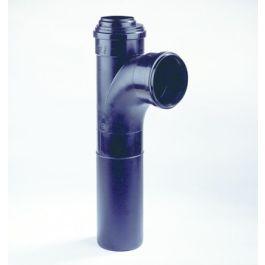 PP Verl.closet T-stuk 110x75mm inbouwmof 2x mof/spie 90° zwart L=475mm