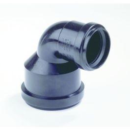 PP Verloopbocht 75x50mm 2x mof 90° zwart