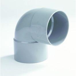 PVC Korte bocht 32mm 2x lijmmof 90° grijs