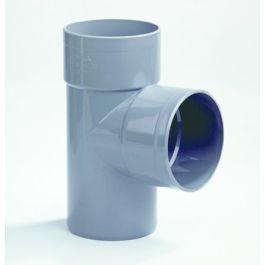 PVC T-stuk 110mm 2x lijmmof/ 1x spie 87,5° grijs