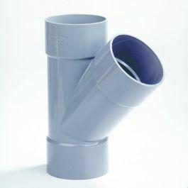 PVC T-stuk 90mm 3x lijmmof 45° grijs