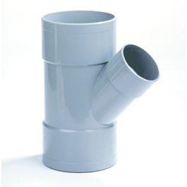 PVC Verloop T-stuk 75x40mm 3x lijmmof 45° grijs