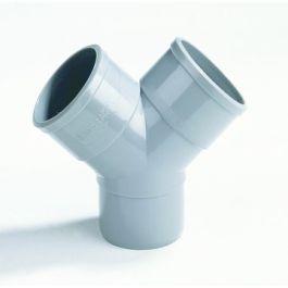 PVC Y-stuk 50mm 2x lijmmof/ 1x spie 45° grijs