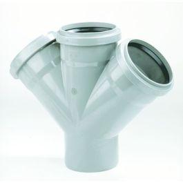 PVC Dubbel T-stuk SN4/SN8 110x110mm 3x mof/ 1x spie 45° grijs