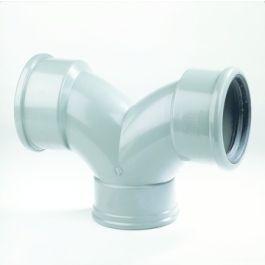 PVC Flexibele stroom T-stuk 125mm 3x mof 90° grijs