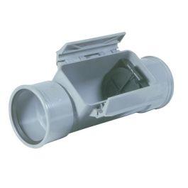 PVC Ontstoppingsstuk met keerklep SN8 125mm 2x mof grijs