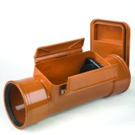 PVC Ontstoppingsstuk met keerklep 125mm SN8 2x mof roodbruin