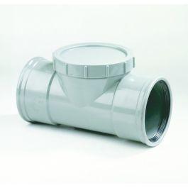 PVC Ontstoppingsstuk met schroefdeksel SN 4 110mm 2x mof grijs