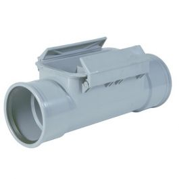 PVC Ontstoppingsstuk met stroomdeksel 125mm 2x mof grijs