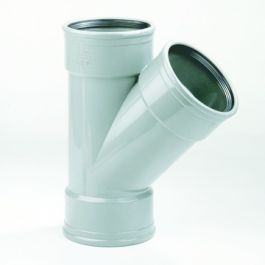 PVC T-stuk SN4 200mm 3x mof 45° grijs