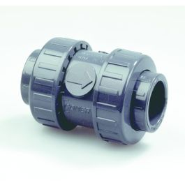 PVC Terugslagklep PN16 16mm 2x kraagbus grijs