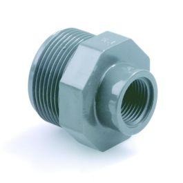 """PVC Verloopnippel 1/2"""" x 3/8"""" PN16 buitendraad/ binnendraad grijs"""