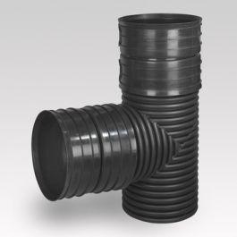 Ultra Kyma PP T-stuk SN8 DN300 2x mof/ spie 90° zwart