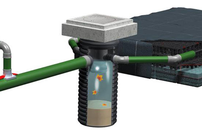 Centrale filterunit, voor eenvoudig onderhoud van het regenwatersysteem